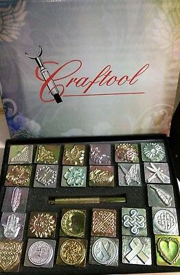 Craftool 3D Stamp Set ONE--26 Stamps w/handle & storage box DEAL! Free Priority