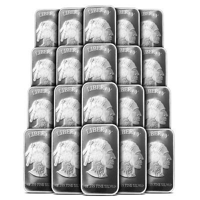 Lot of 20 - 1 oz Silvertowne Buffalo Design Silver Bar .999 Fine - New & Sealed