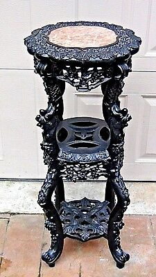 19c CHINESE ROSEWOOD DRAGONS CARVED MARBLE TOP 3 TIERS SIDE TABLE,PLANT STAND