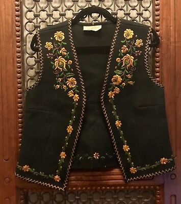 Vintage Wool Embroidered Vest-floral boho Made in Hungary