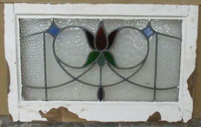 """MID SIZE OLD ENGLISH LEADED STAIN GLASS WINDOW Pretty Floral Heart 25.5 x 16.25"""""""