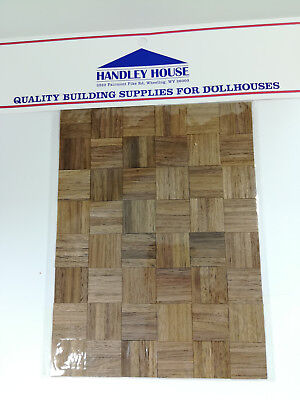 "Dollhouse Miniature Parquet Real Wood Flooring by Handley House 1:12 Scale 8""x6"""