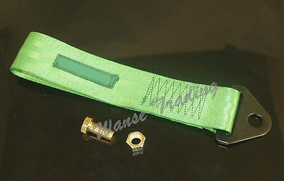 Universal Racing Tow Strap Towing Rope Green For Front Rear Bumper Hook Truck