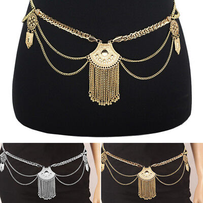 Belly Waist Silver Gold Plated Waist Bikini Tassel Beach Body Chain Belt Boho