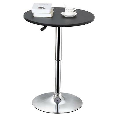 Modern Round Bar Table Adjustable Height Bistro Pub Counter Wood Top
