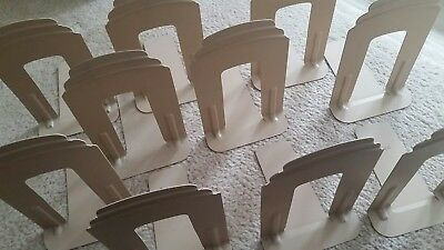 """LOT of 5 Pairs (10) DEMCO Beige Tan Metal Bookends - 9"""" Tall Library School"""