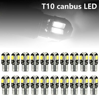 20x T10 CAR BULBS LED ERROR FREE CANBUS 8SMD XENON WHITE 501 SIDE LIGHT BULB