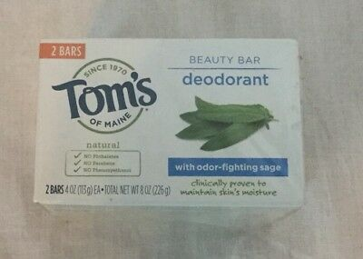 Tom's of Maine Deodorant Beauty Bar Soap Lot of 2 Odor Fighting Sage