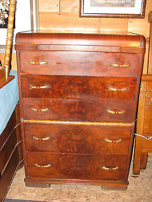 VTG Art Moderne Waterfall Chiffonier Chest of Drawers Celluloid & Brass Plated H