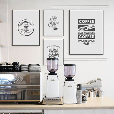 Vintage Black White Coffee Quotes A4 Poster Nordic Cafe Wall Art Canvas Painting