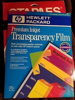Mixed Lot Hewlett Packard Premium & Staples InkJet Transparency Film 25 Sheets