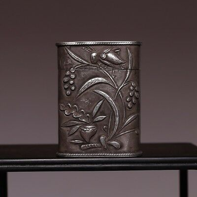 Marvelous Rare Chinese Antique Handmade FuZeng flower Small silver Old Box HX09