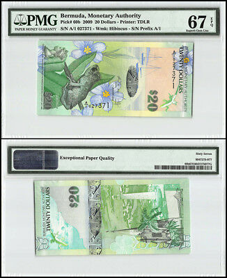 Bermuda 20 Dollars, 2009, P-60b, Whistling Frog, Church, Lighthouse, PMG 67