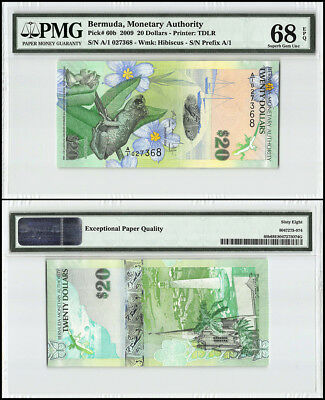 Bermuda 20 Dollars, 2009, P-60b, Whistling Frog, Church, Lighthouse, PMG 68