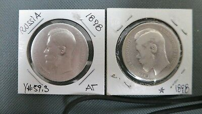RUSSIA EMPIRE 1898 * and AG LOT OF 2 SILVER 1 RUBLE COINS .