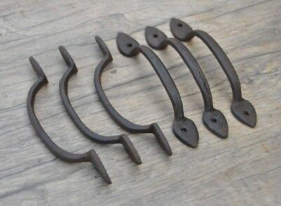 6pcs vintage victorian cast iron door cabinet screen handles pull rustic 5.5""