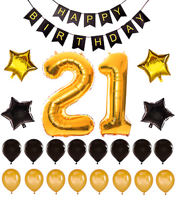 21st Birthday Decorations Giant Party Gold Foil Balloons Happy Birthday Banner