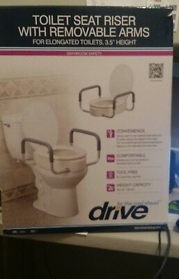 Bathroom Elevated Toilet Seat 3.5 Riser, Removable Arm Support for elongated