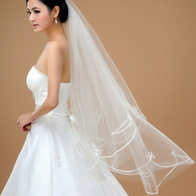 Elegant Cathedral Champagne Bride's Veil Ribbon Serging Combs White Wedding New
