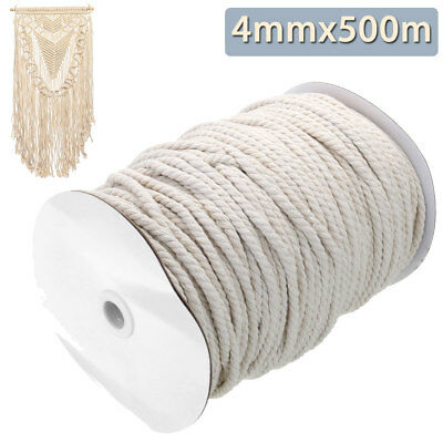 Bohemia 4mm Natural Beige Cotton Twisted Cord Crafts Macrame Artisan String 500M