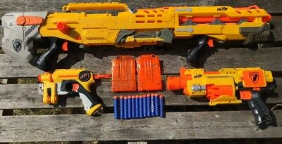 Nerf N-Strike Longshot CS-6, Sniper Rifle  Barricade RV 10 & Small Pistol Bundle