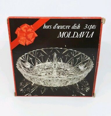 Genuine Vintage Moldavia 3 Section Hors-d'oeuvres Cut Glass Divided Serving Dish