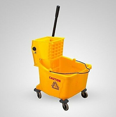38 Quart Commercial Large Yellow Mop Bucket with Wringer, 9.5 Gallon, New