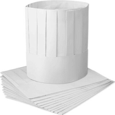 WILLBOND 12 Pack Disposable 9 Inch Paper Chef Tall Hat Set Adjustable Kit... New