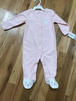 NWT Carter's Infant Girl Sleep & Play Cat and Mouse One-Piece Baby 9 Months 9M