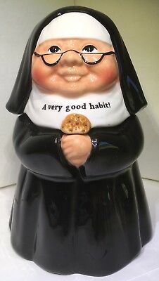 Nun Sister Cookie Snack Jar Ceramic With Lid Home Decor 10