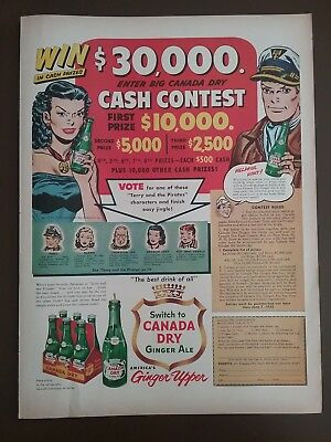 Vintage Canada Dry / Terry and the Pirates Comic Mag. Ad 1953 POST