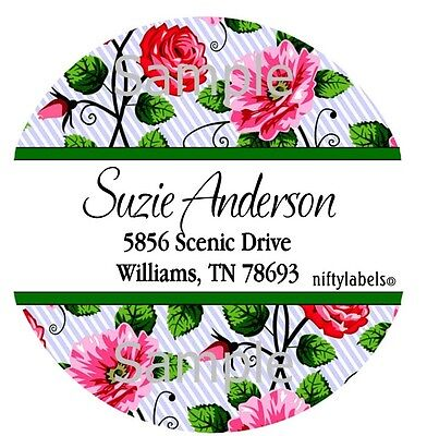 White Stripe & Pretty Roses  #1  Round Return Address Labels