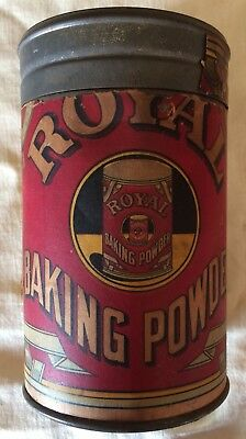 Antique Vintage ROYAL Baking Powder 12 Oz Tin/Embossed Metal Lid