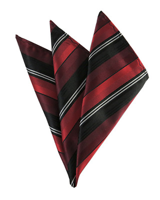 Red, Burgundy And Black Multi-Striped Men's Woven Handkerchief Pocket Square