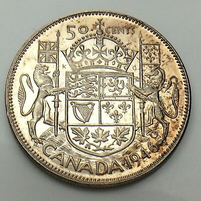 1946 Narrow Date ND Canada Fifty 50 Cent Half Dollar Silver Circulated Coin F851