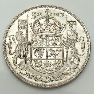 1942 Canada Fifty 50 Cents Half Dollar Silver Circulated Canadian Coin F852
