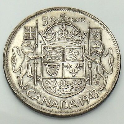 1943 Canada Fifty 50 Cents Half Dollar Silver Circulated Canadian Coin F853