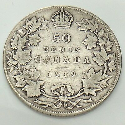 1919 Canada Fifty 50 Cents Half Dollar Silver Circulated Canadian Coin F855