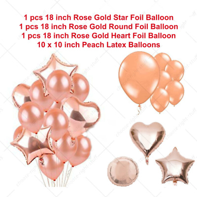 "18"" Rose Gold Foil Balloons Helium/Air Star Heart Round Wedding Birthday Decor"