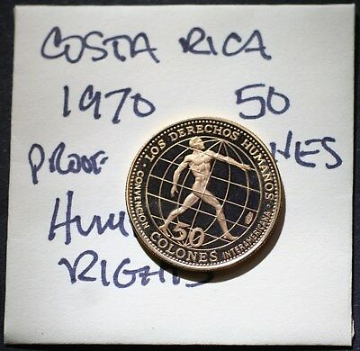 1970 GOLD Costa Rica, 50 Colones, Human Rights, PROOF Gold Coin
