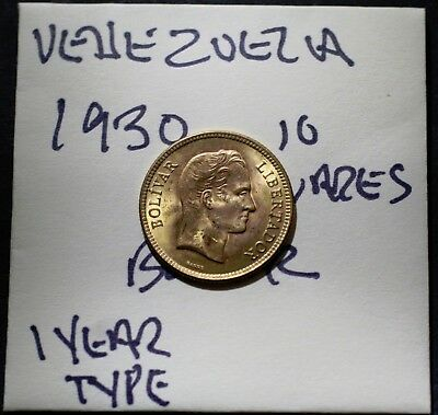 1930 GOLD Venezuela, 10 Bolivares, Old Gold Coin, Rare One Year Type
