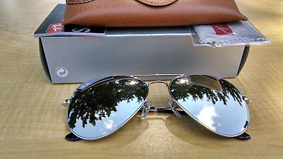 beaa3a8ed5 Ray-Ban Aviator Sunglasses RB3025 W3277 58 Silver Frame   Mirror Lens  Authentic