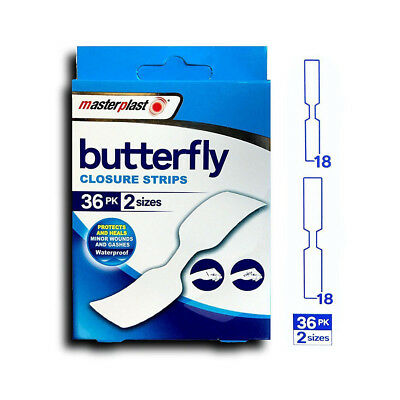 Butterfly Skin Closure Strips / Stitches Waterproof Plasters 36pack  2 Sizes