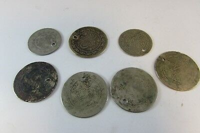 LOT of 7pcs LARGE SILVER OTTOMAN TURKISH TURKEY ISLAMIC COINS VERY RARE 59.2gram