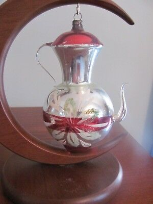 Vintage Christmas Ornament Glass Hand Painted Large Red Teapot