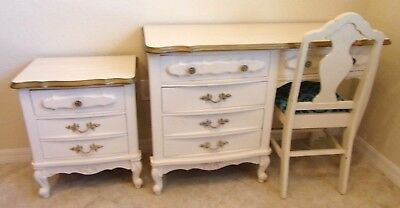 Vintage French Provincial Ivory Gold Trim Writing DESK CHAIR Night Table Stand