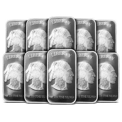 Lot of 10 - 1 oz Silvertowne Buffalo Design Silver Bar .999 Fine - New & Sealed