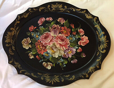 Vintage Black Tole Tray, Extra Large,28 x 23,Excellent condition on wooden stand