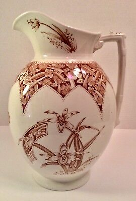 Aesthetic Movement Transfer Ware Ironstone Pitcher F.W.&Co Orchid Pattern 19th C