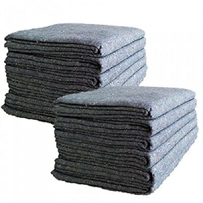"""12 Pcs Textile Moving Blankets Lightweight Furniture Protector 54""""X72"""" Pads Grey"""